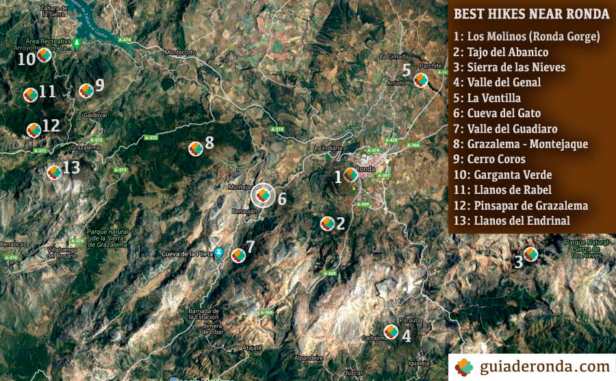 Map of the hiking trails near Ronda